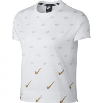 Nike Women's Short-Sleeve Metallic Top, ženska majica, bijela
